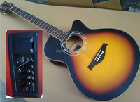 sunburst color 40inch folk acoustic guitar with equalizer free string free shipping