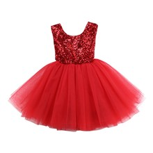 Sequins Kids Babys Girls Clothes Sleeveless Lace Flower Dress Tutu Party Dress Backless Bridesmaid Dresses Kid Baby Girl Clothes