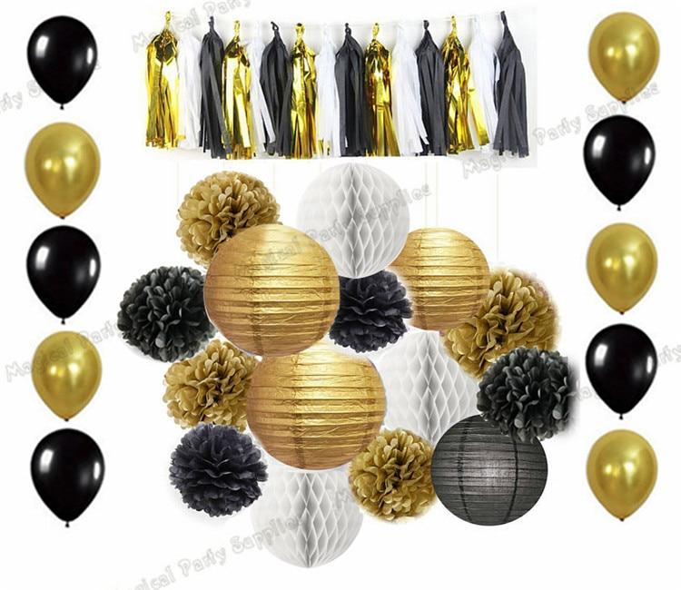 10 Sets Mixed of Gold Black White Tissue Pompoms Paper Lantern honeycomb Ball Tassel Garland Balloon