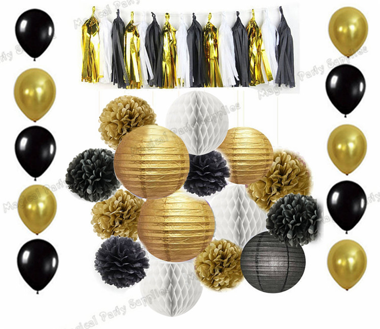 10 Sets Mixed of Gold Black White Tissue Pompoms Paper Lantern honeycomb Ball Tassel Garland Balloon Birthday Kit Party Pack-in Party DIY Decorations from Home & Garden    1