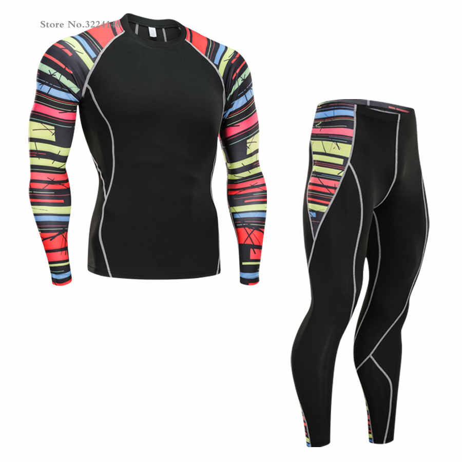 Рашгард для мужчин ММА одежда милый костюм 2 шт. спортивный костюм мужское термобелье базовый слой одежда для фитнеса 4xl