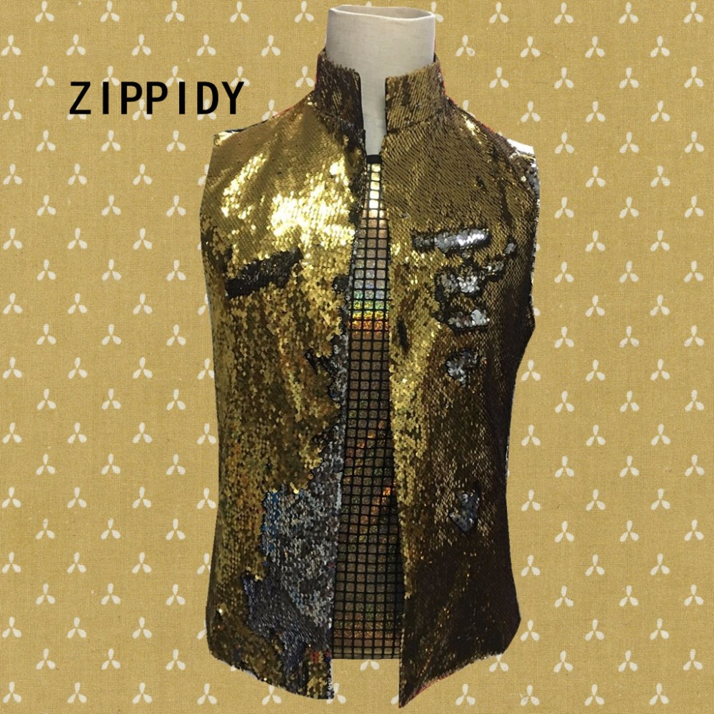 New Style Gold Or Black Sequins Mens Slim Casual Vest Nightclub Male Singer Dj Ds Stage Performance Outerwear Jacket Costumes Vests & Waistcoats