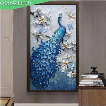 QIANZEHUI,DIY Diamond Embroidery,Round Diamond Peacock blue vertical Full rhinestone Diamond painting cross stitch,needlework - Category 🛒 Home & Garden