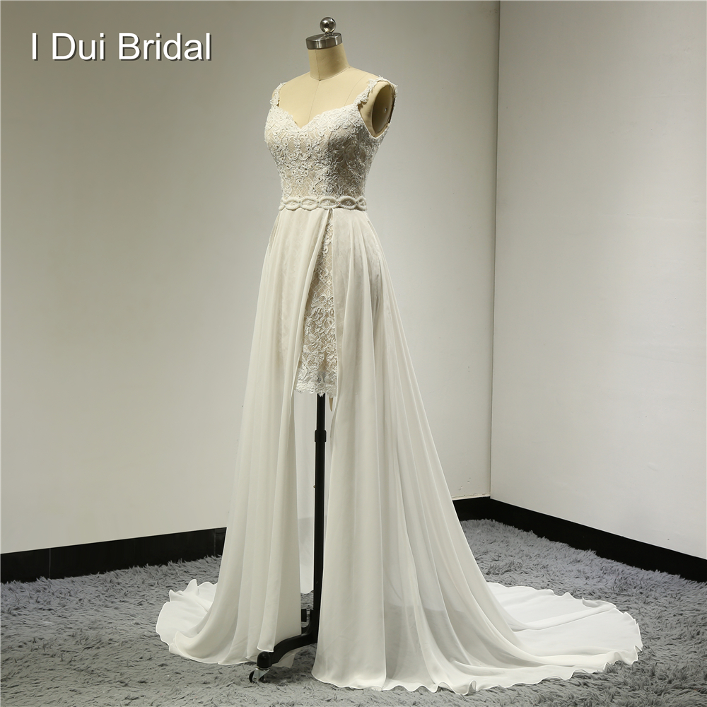 Split láb rövid belsejében hosszú out réteg sifon esküvői ruhák csipke gyöngyös csupasz vissza szexi stílus valódi fotó egyéni Made ELS-002