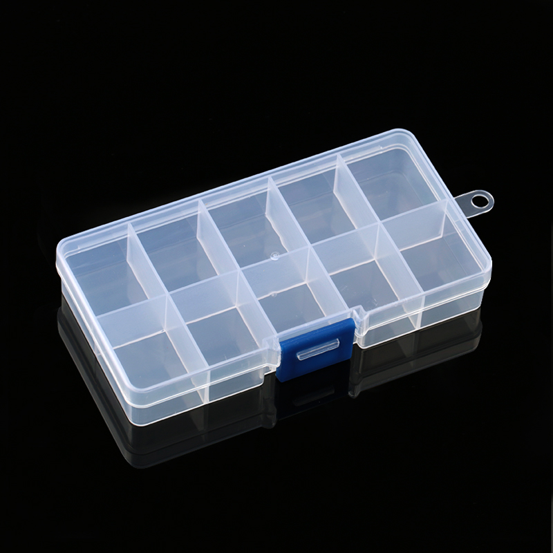 12.3x6.3x2.2CM Adjustable Rectangle Jewelry Container 10 Slots Compartment Plastic Storage Box Case For Beads Earrings 1PCS