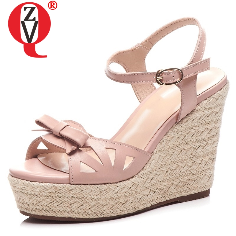 ZVQ chaussures femme 2019 été nouveau noeud papillon doux en cuir véritable femme sandales à l'extérieur super haute compensées plate forme boucle solide chaussures-in Sandales femme from Chaussures    1