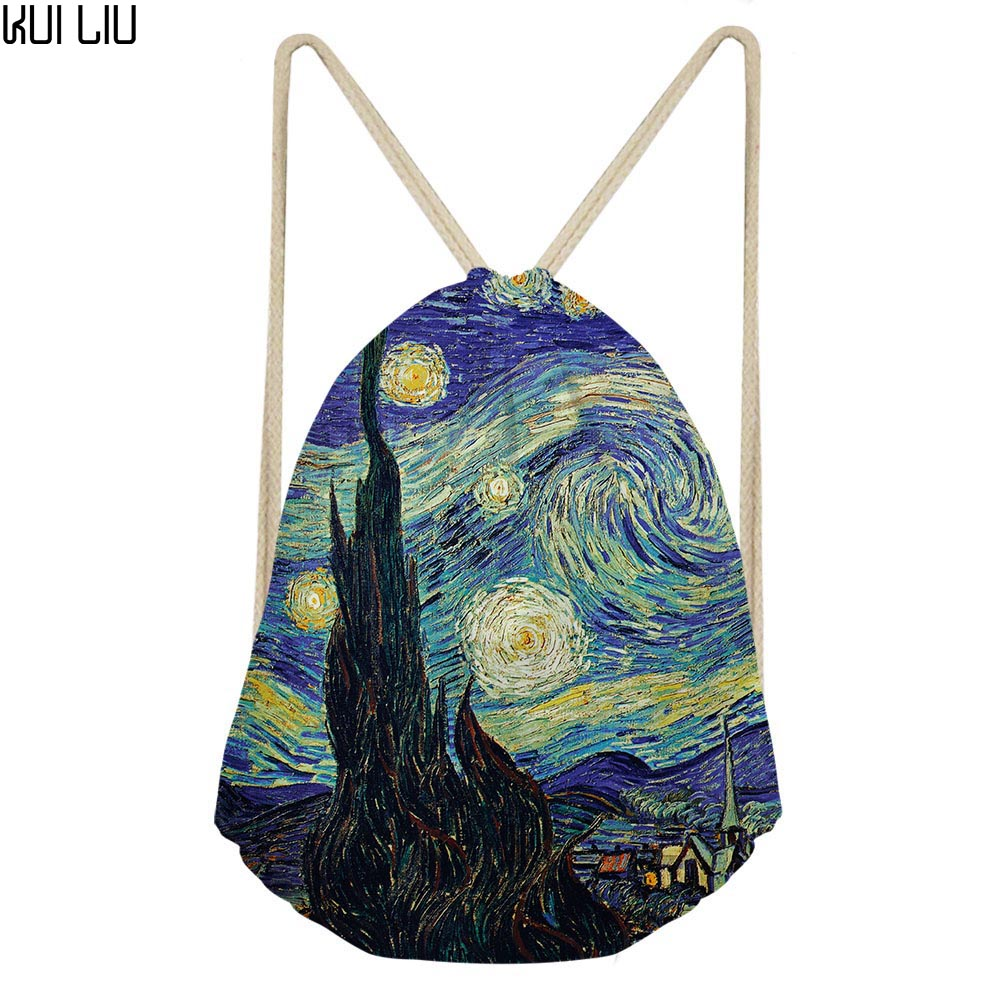 Vincent Van Gogh Starry Night Print Drawstring Bag Men Women Strap Package Bags Backpack  Black String Sack Beach Travel Storage