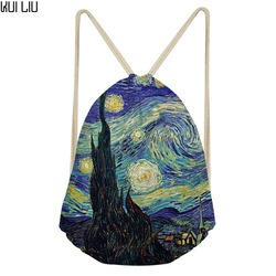 Vincent van gogh noite estrelada impressão drawstring saco das mulheres dos homens cinta pacote sacos mochila preto string saco praia viagem armazenamento