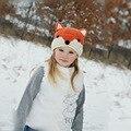 2016 New Fashion Baby Orange Handmade Fox Cat Winter Beanie Kids Boy Girl Warm Hat Knitted Cap