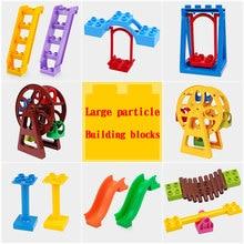 Diy building blocks bricks Duploes Large particles Scene accessories Slide Door window Compatible large paticle Toys for kids