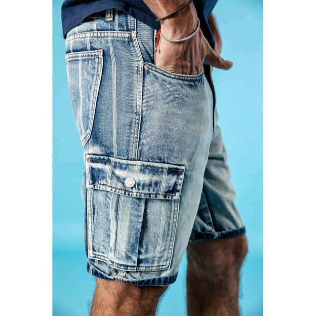 Men's Denim Shorts 100% Cotton Striped Wash Vintage