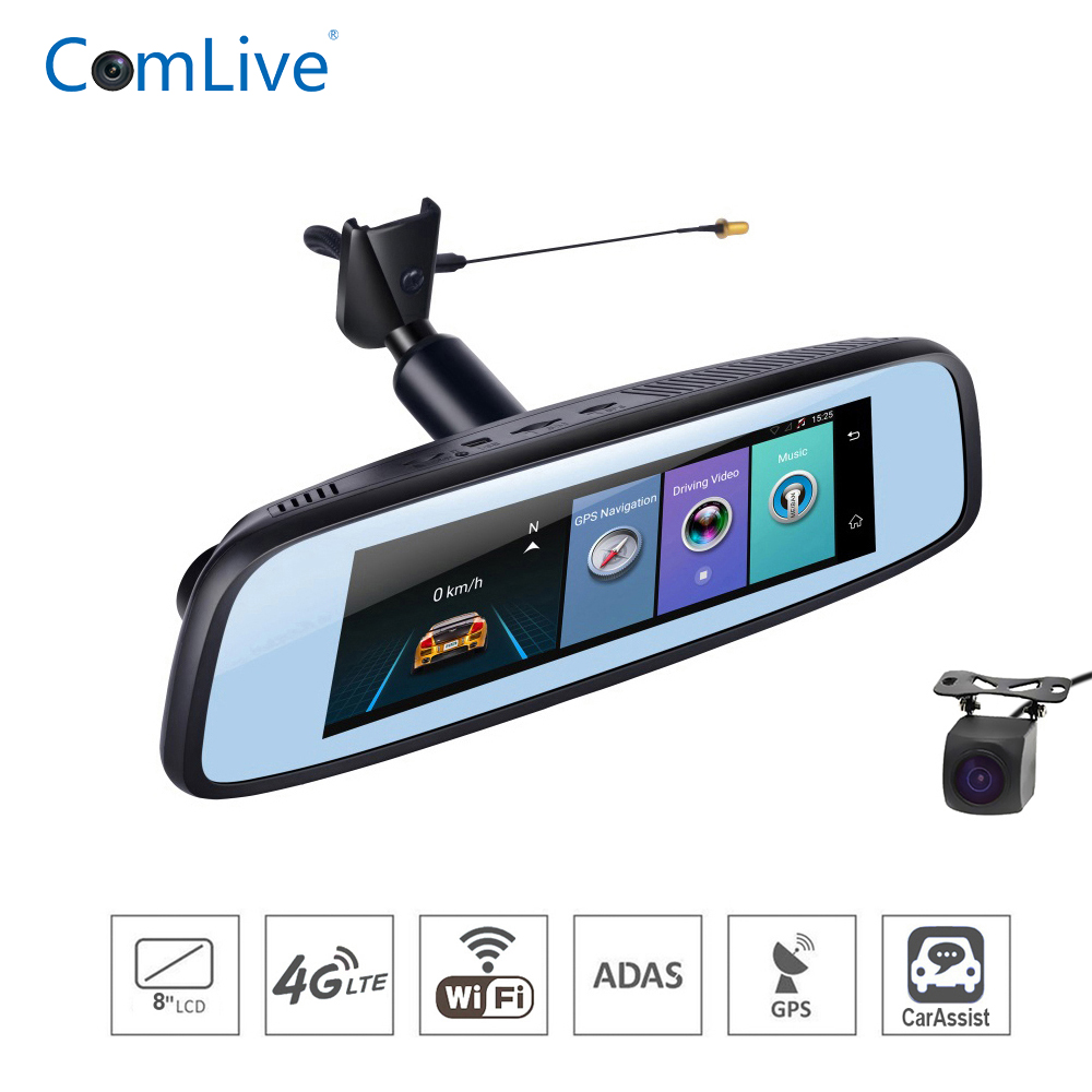 RAM2G ROM32G caméra de tableau de bord de voiture 8 4G ADAS système de navigation gps bluetooth miroir enregistreur de bord double cames HD1080P android 5.1 WIFI dash cam