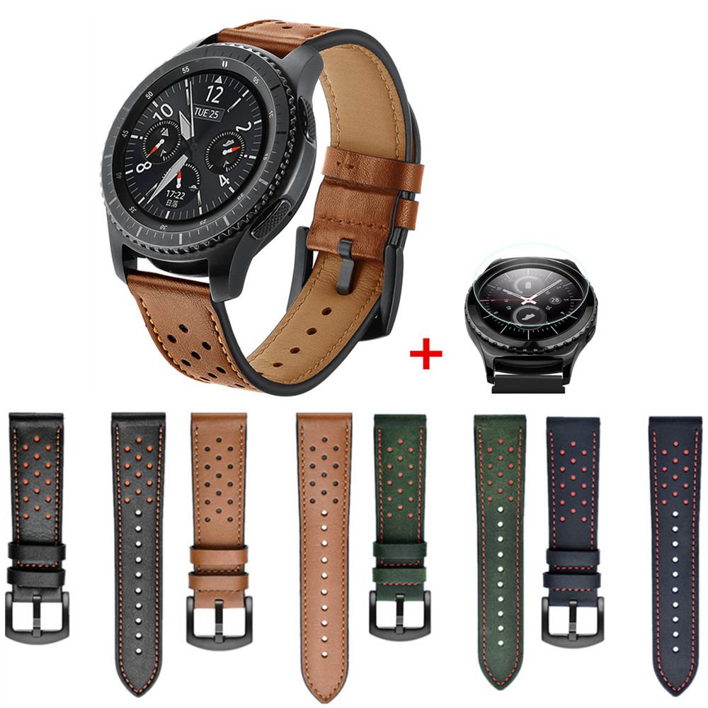 <font><b>46mm</b></font> Screen Protector+Genuine Leather Strap for <font><b>Samsung</b></font> Gear S3 Classic/Frontier <font><b>bracelet</b></font> Watchband wrist belt <font><b>Smart</b></font> <font><b>watch</b></font> belt image