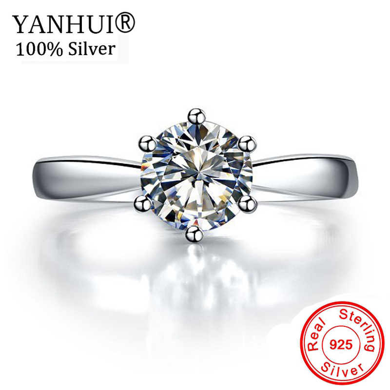 Lost Money 99% OFF! Original 925 Solid Silver Rings Solitaire 1 Carat CZ Diamant Wedding Rings for Women Fine Jewelry HNR003 big promotion 100% original 925 silver wedding rings for women natural solitaire 6mm cz diamant engagement rings jewelry rj003