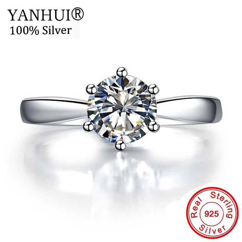 Perdu de L'argent 99% OFF! D'origine 925 Solide Argent Anneaux Solitaire 1 Carat CZ Diamant Anneaux De Mariage pour Les Femmes Joaillerie HNR003
