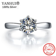 YANHUI Original 925 Solid Silver Rings Solitaire 1 Carat CZ Diamant Wedding Rings for Women Fine Jewelry HNR003(China)