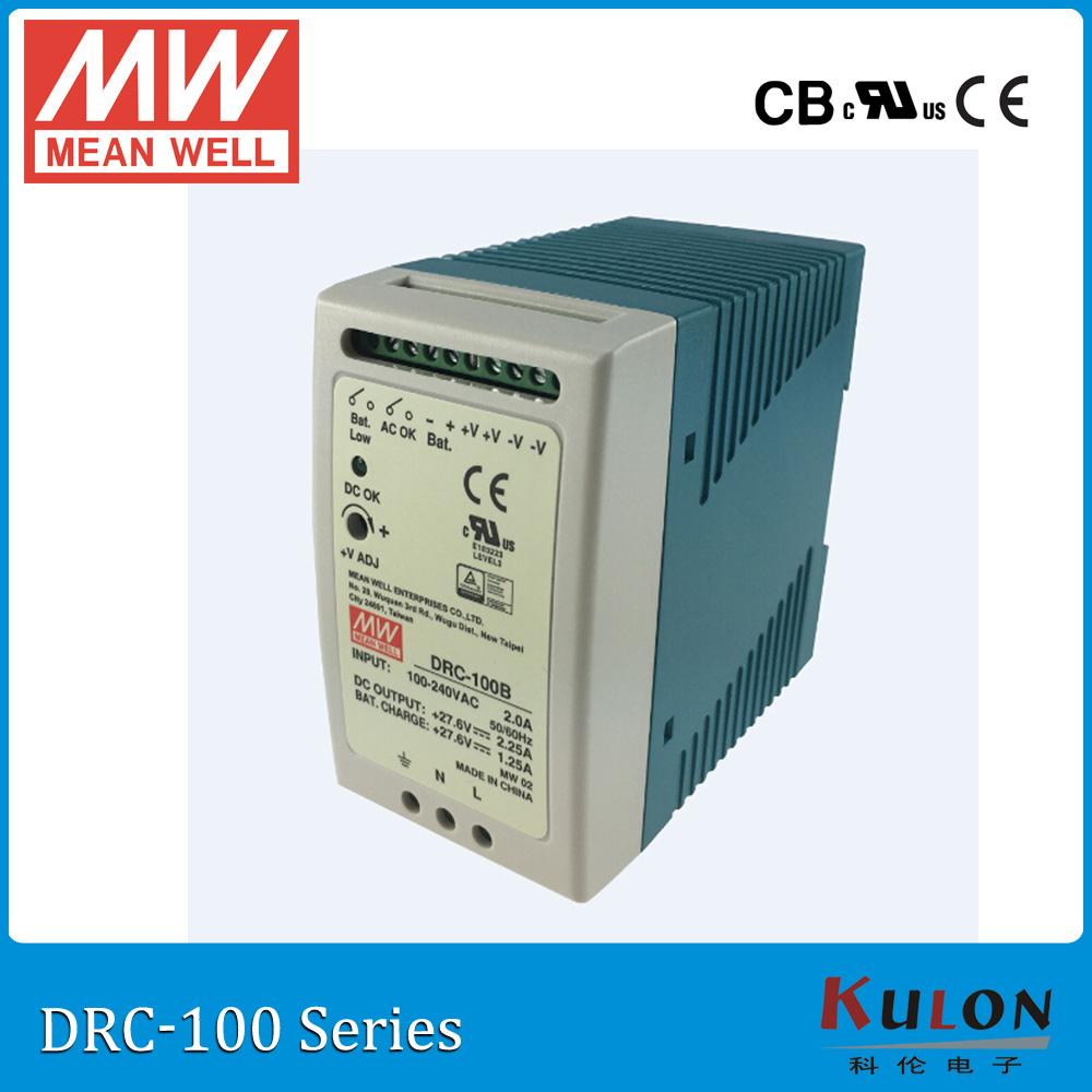 цена на Original MEAN WELL DRC-100B 96W 24-30V AC/DC meanwell din rail security Power Supply with Battery charger(UPS function) DRC-100