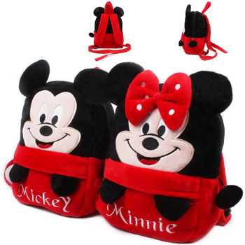 Lovely Mickey Minnie baby backpack plush school bags for kindergarten boy girl mini cartoon candy bags children's birthday gift Kids & Baby Bags