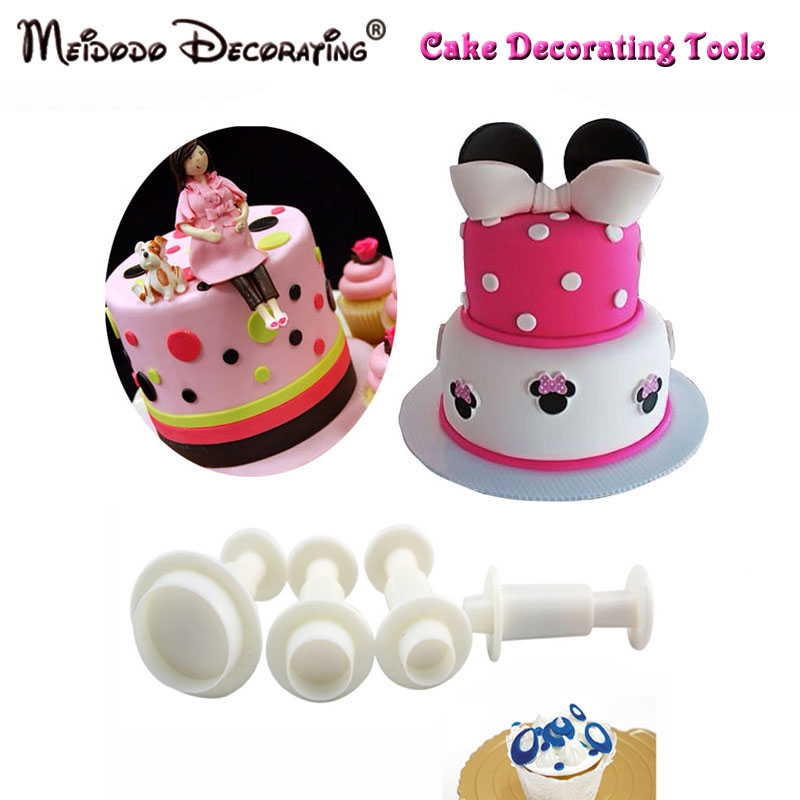 New Arrival 4pcs Round Shape Cake Plunger Cutters Fondant Tool Sugarcraft Cake Decorating Fondant Icing Pluger Cutters