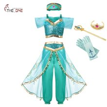 MUABABY Summer Girl Dress Arabian Princess Jasmine Dress up Costume Children Sleeveless Sequin Cosplay Clothes Kid Party Fantasy(China)