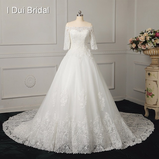 A Line Half Sleeve Lace Real Photo Wedding Dresses Chapel Train Factory Custom Make To