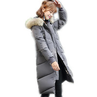 2018 New Style Winter Women Down Cotton Medium Long Jacket Parka Female Hooded Fur Collar Thicken