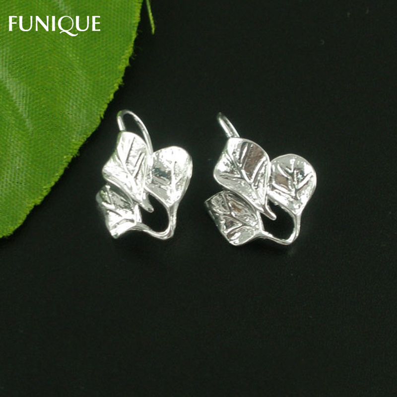 FUNIQUE Earrings Hook Jewelry Findingd 5Pairs Silver Plated Leaf Charm Ear Hooks Clasps For DIY Earrings Accessories 21x15mm