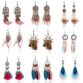 Tassel Dangle Long Earrings For Women Owl Leaf feather earrings Brincos Bijoux Jewelry