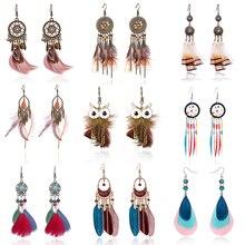 Tassel Dangle Long Earrings For Women Owl Leaf feather earrings Brincos Bijoux Jewelry Wedding Earrings Bride Jewelry rhinestoned leaf wedding jewelry earrings
