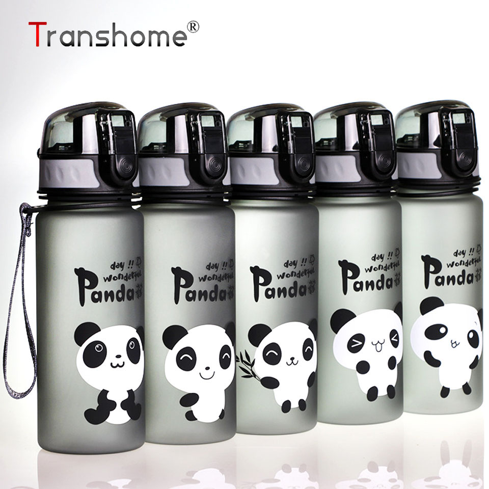 Transhome Water Bottles Creative Panda Sport Drinking Water Bottle for Sports Travel Kettle With Lid Rope Outdoors Drinkware