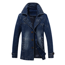 2018 Autumn Winter Single Breasted Button Closure Long Denim Trench Mens Winter