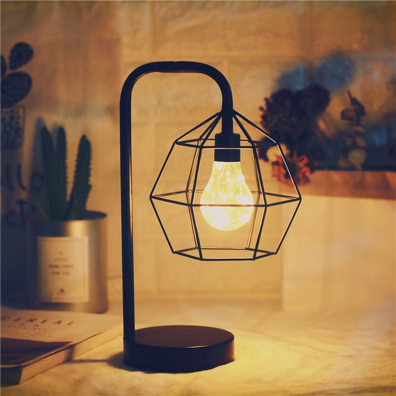 Battery Operated Edison Bulb Lamp: Edison Style Metal Home Table Lamp Warm White LEDs Wire