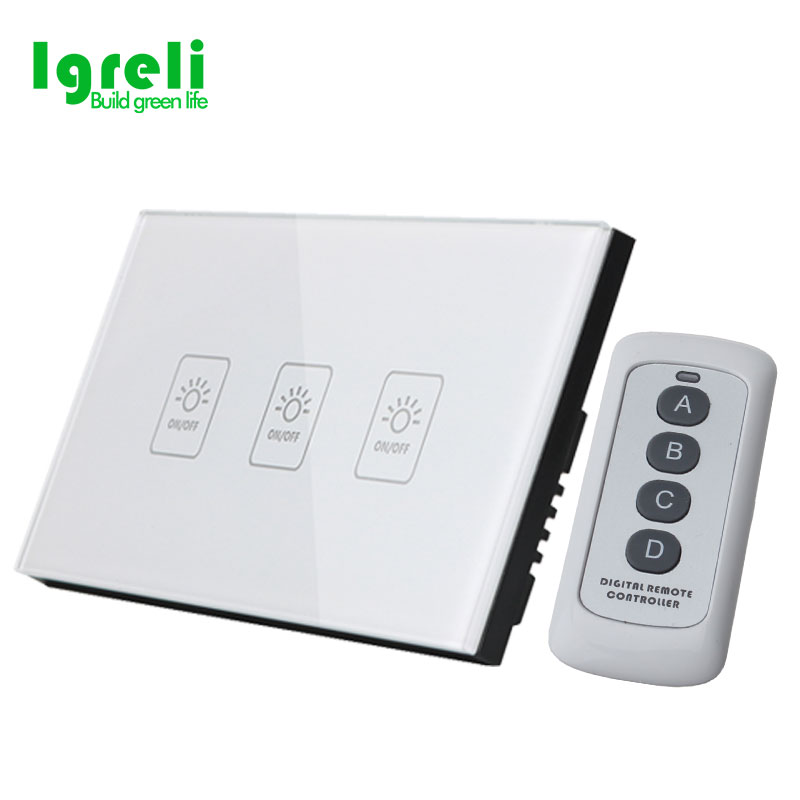 2018 Promotion Direct Selling Rohs Us Standard 3 Gang 1 Way Wireless Light Switches,<font><b>rf433</b></font> <font><b>Wall</b></font> Touch Switch 110v For Smart Home image
