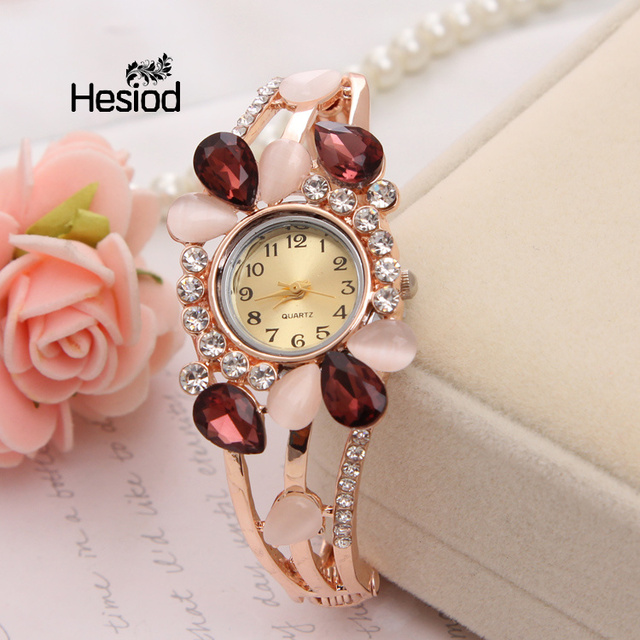 Hesiod Wedding Party Water Drop Crystal Bangle Bracelet Watches for Women Vintag