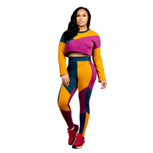 цены на 2019 Fashionable Jogging Suits Sweat Suits Women Outfits Contrast Patchwork Crop Top and Skinny Long Pants Winter Tracksuit Set  в интернет-магазинах
