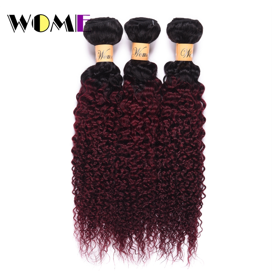 Hair Extensions & Wigs Human Hair Weaves Kind-Hearted Wome Pre-colored Malaysian Hair Weave Bundles Ombre T1b/99j Curly Human Hair 3 Bundles 2 Tone Black To Red Wine Color Hair Soft And Light