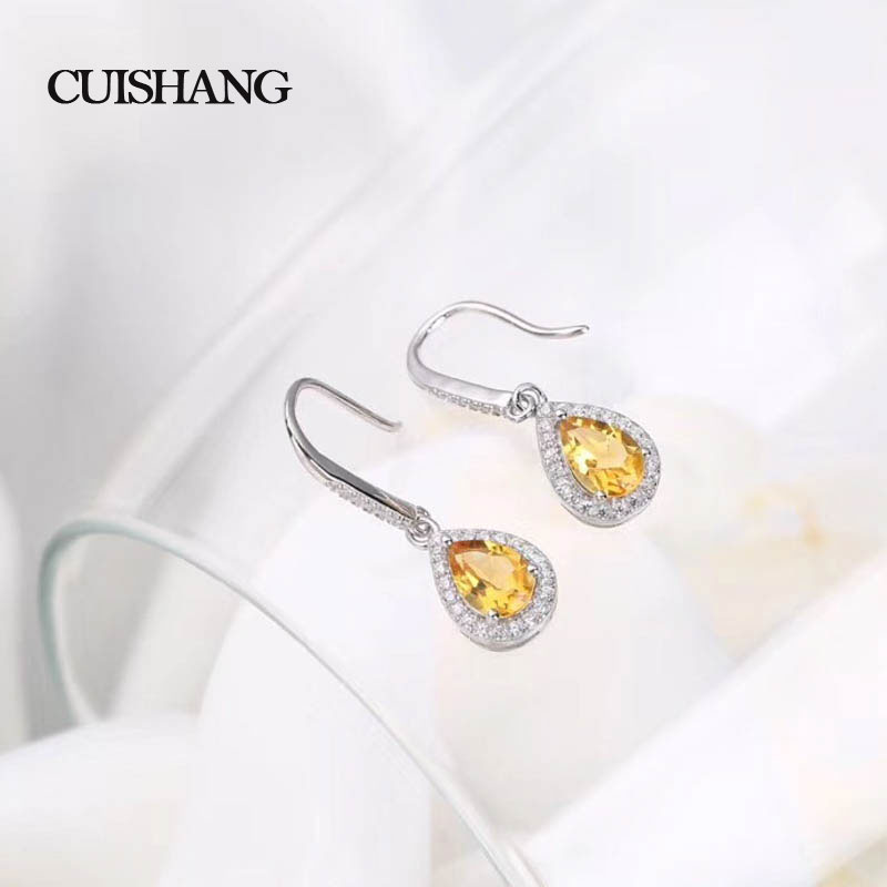 CSJ Cute design 925 Sterling Silver Fine Jewelry Earring Natural Gemstone Citrine fine wedding Engagement for women