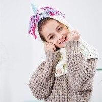 Dziewczyny Szydełka Jednorożec Czapka Zimowa z Szalikiem Żartuje Dzieci Z Kapturem Bawełna Dziania Beanie Cosplay Costume Dostawa Drop Shipping