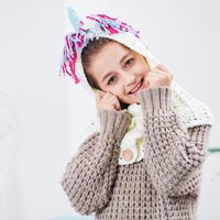 Girls Crochet Unicorn Winter Hat With Scarf Kids Children Hooded Cotton Knitting Beanie Cosplay Costume Supply