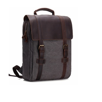 Vintage Fashion Backpack Leather military Canvas backpack Men backpack women school backpack school bag bagpack rucksack mochila