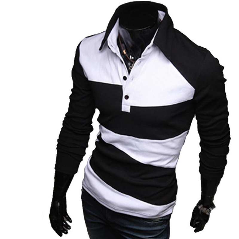 Mens Polo Shirt Brands 2017 Male Long Sleeve Fashion Casual Slim Hit The Color Design Polos Men Jerseys 3XL Y