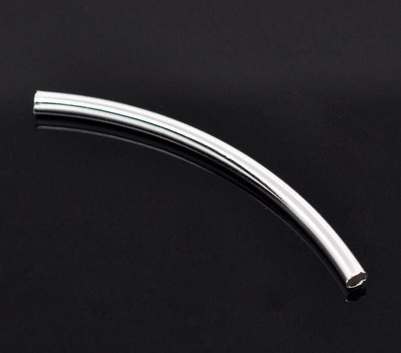 Doreenbeads silver color smooth curved tube spacer beads