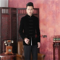 Spring Autumn New Black Chinese Traditional Men S Jacket Long Sleeve Velvet Coat Tang Suit Free