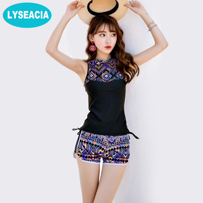 high neck swimsuit two piece lyseacia high neck swimwear vintage two piece printed 9499