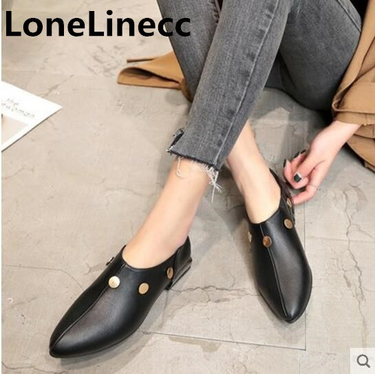 5a7c6696a438d High quality Women shoes Pointed Toe black Rivet Leather shoes Flat Platform  Loafers shoes women Square heels ladies shoes woman
