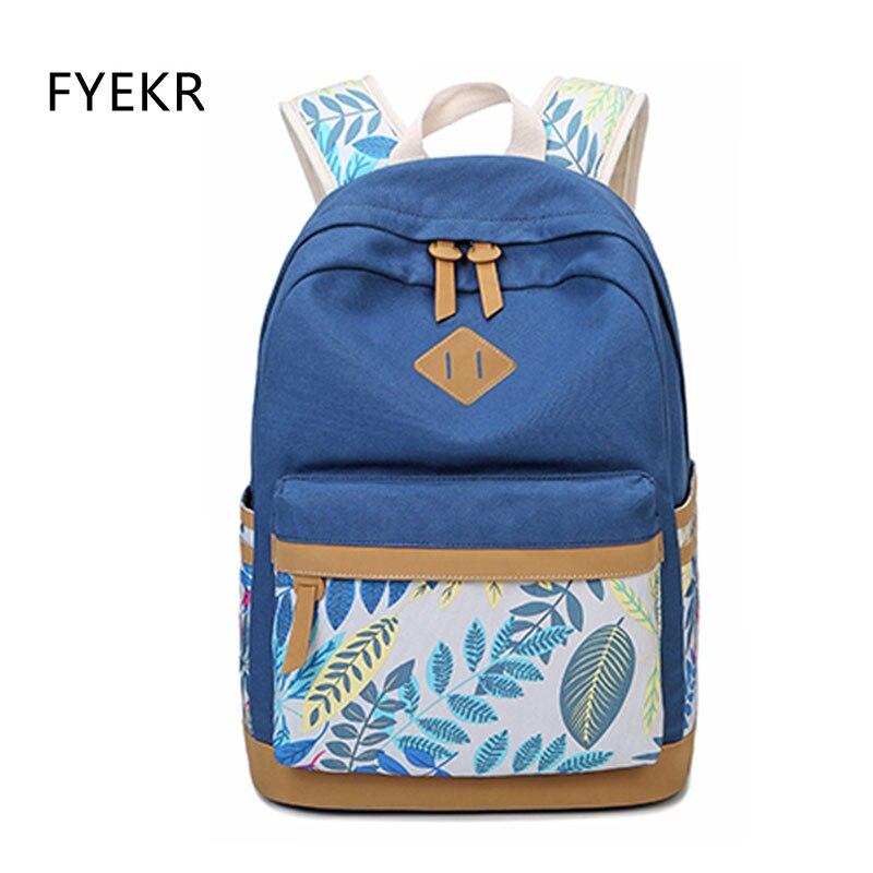 Femmes toile sac à dos feuilles impression mode cartable sac à dos pour adolescentes Mochila sacoche pour ordinateur portable filles voyage Packbag