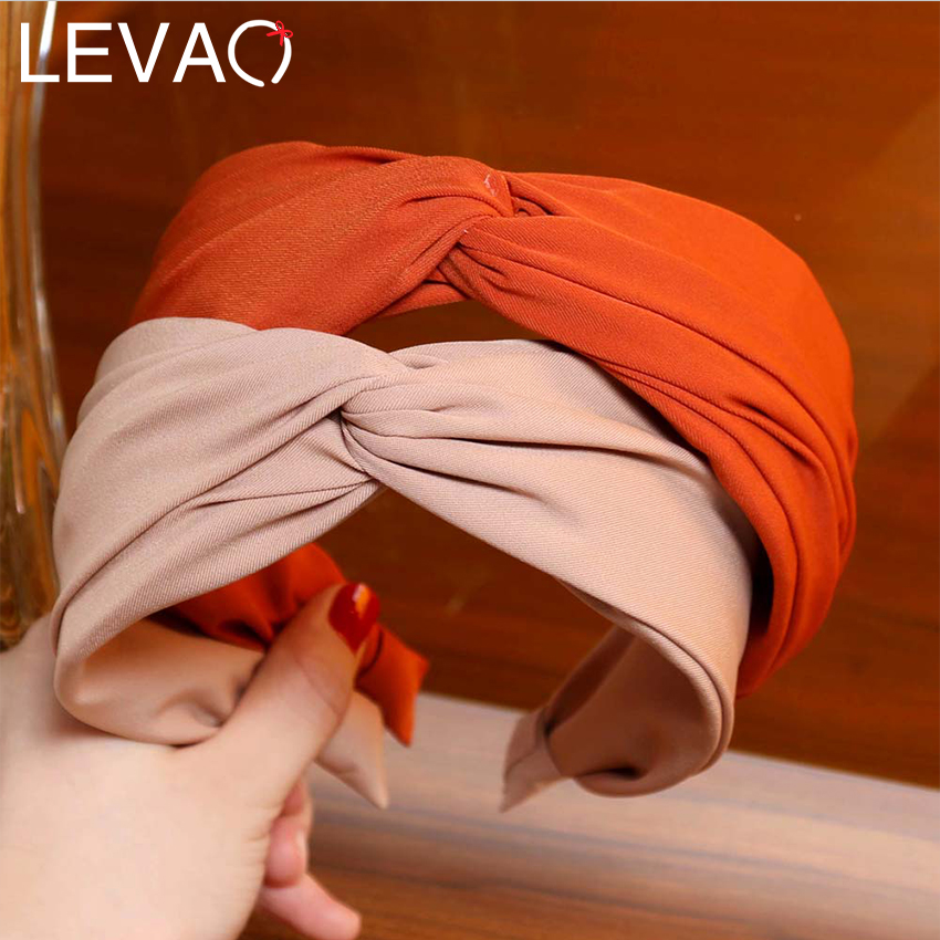 LEVAO Wide Cross Headband Women Turban Head Band Solid Color Twist Hairbands Hair Hoop Bands Bezel For Girls Hair Accessories