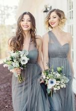 2017 Cheap Elegant Bridesmaid Dress A line Grey Mismatch Different Style Long Bridesmaid Dresses Wedding Guest