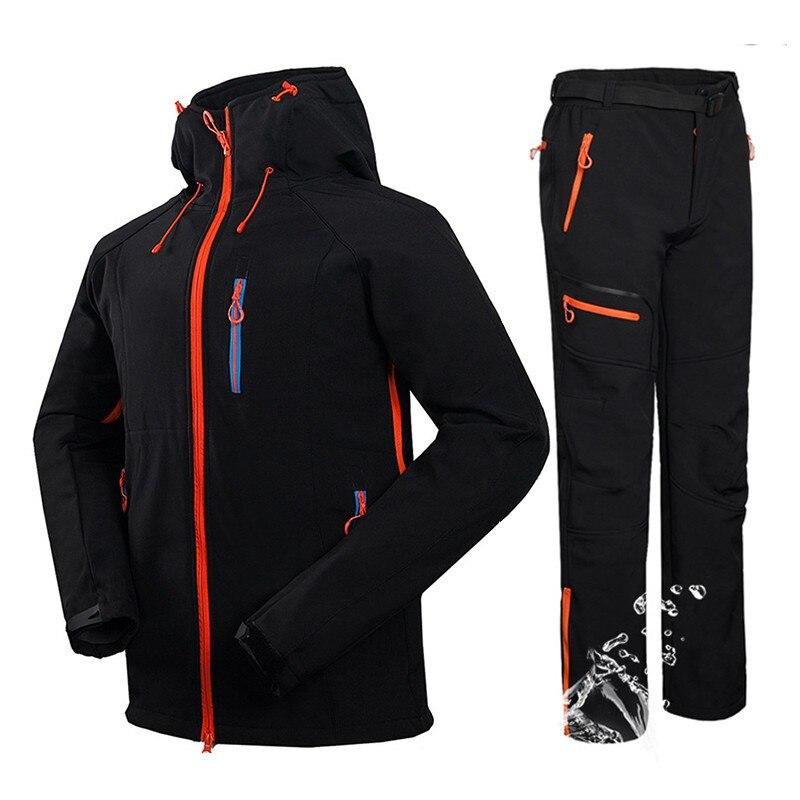 Winter Men Hiking Ski Softshell Jacket suits Outdoor Fishing Climbing Camping Waterproof Jacket + Fleece Softshell Pants Sets