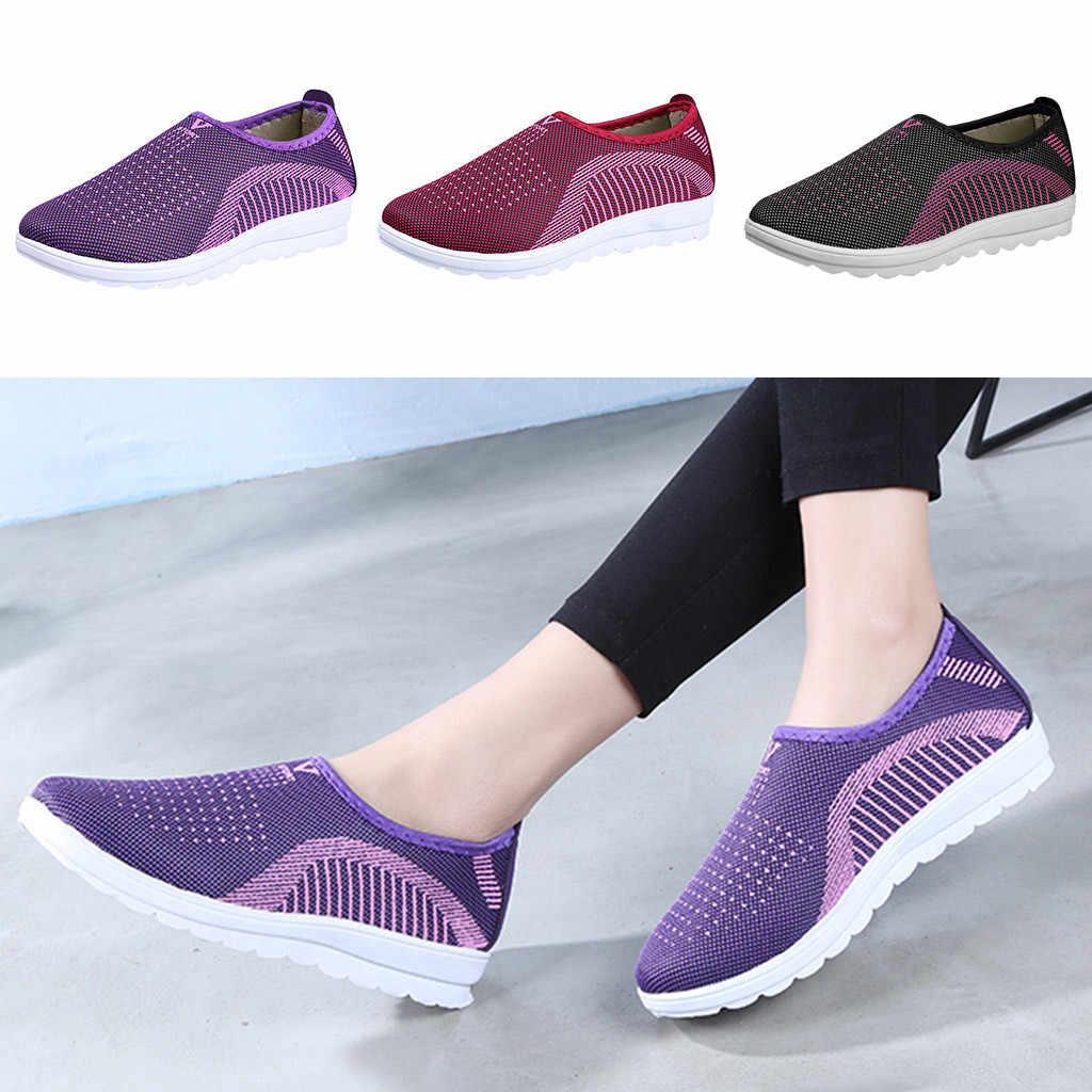 2019 nuevos zapatos planos de malla con algodón Casual a rayas Zapatillas Mocasines zapatos suaves zapatos planos de mujer # XP25